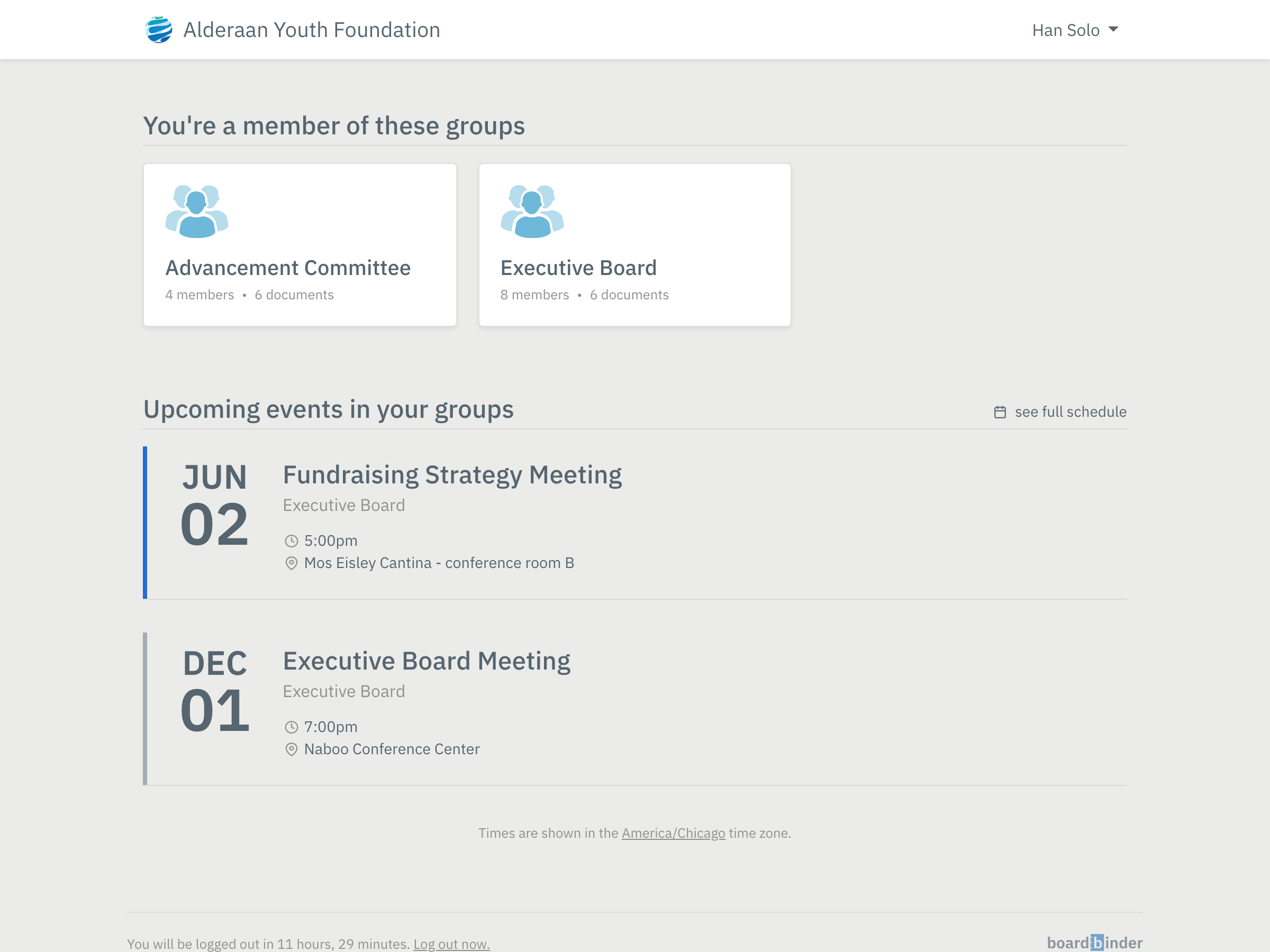 Meeting events and documents in BoardBinder